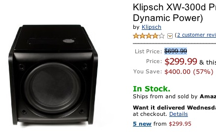 Klipsch XW-300d 8-inch Subwoofer Deal at Amazon.com for $299.99
