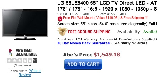 LG 55LE5400 55-inch LED HDTV Deal at Abes of Maine
