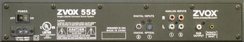 ZVOX Z-Base 555 Sound Bar - Back