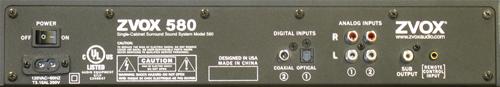 ZVOX Z-Base 580 Sound Bar - Back