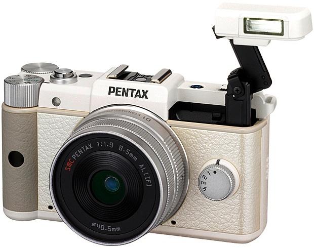 PENTAX Q Interchangeable Lens Digital Camera - White pop-up flash