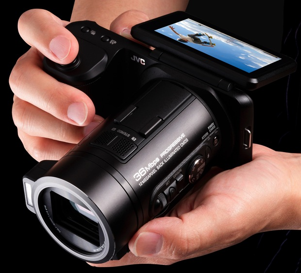 JVC GC-PX10 Hybrid Digital Camera/Camcorder - in hand