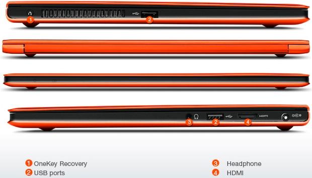 Lenovo IdeaPad U300s Ultrabook Laptop - Sides