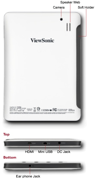 ViewSonic ViewPad 7e Tablet - Back