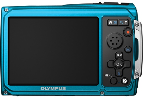 Olympus TG-320 Tough Digital Camera - Back, blue