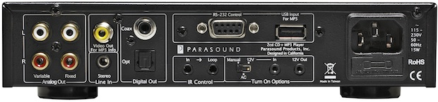 Parasound Zcd CD + MP3 Player - back