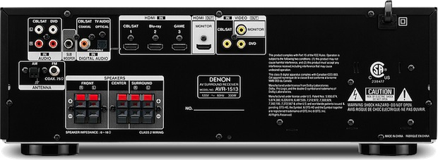 Denon AVR-1513 5.1-Channel A/V Receiver - back