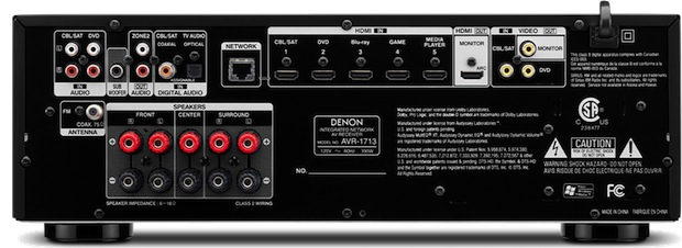 Denon AVR-1713 5.1-Channel A/V Receiver - back
