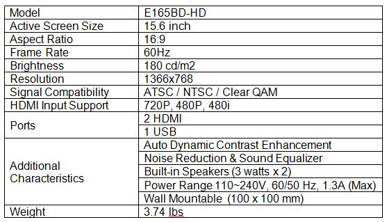 Sceptre E165BD-HD LCD HDTV Comparison