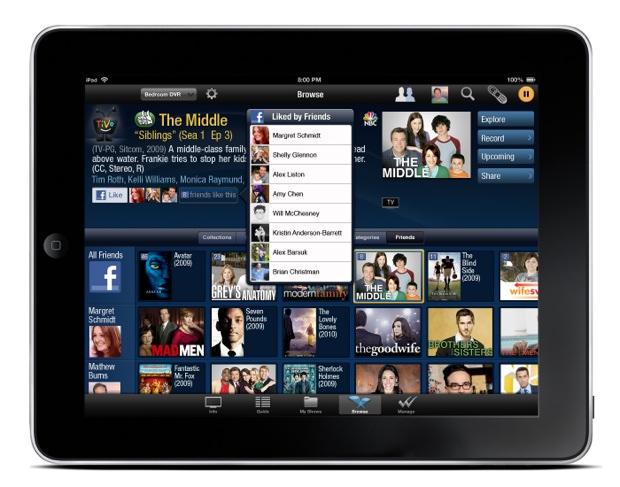TiVo iPad app - Facebook Sharing