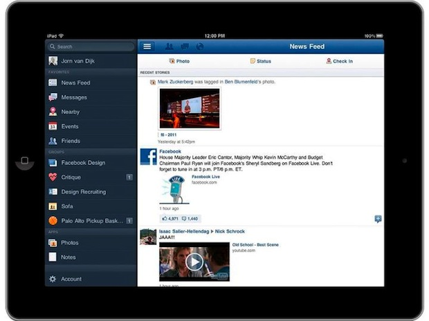 Facebook iPad App - Newsfeed