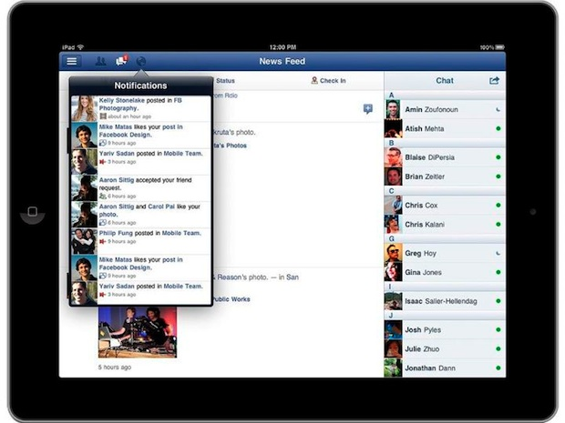 Facebook iPad App - notices