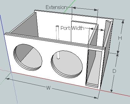 Subwoofer box help for L ported box dimensions