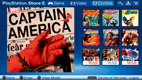 Sony PSP Comics Menu