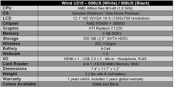 MSI Wind U210 Notebook Specifications