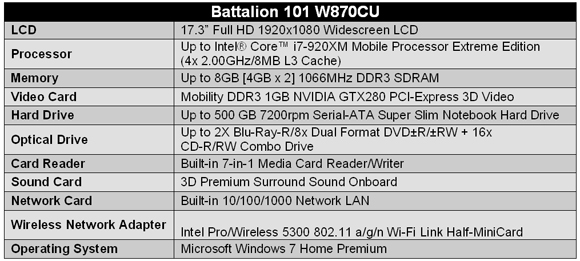 iBUYPOWER Battalion 101 W870CU Gaming Notebook - Specifications