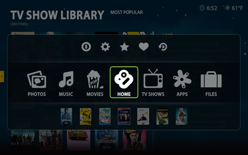 Boxee Screenshot Global Menu