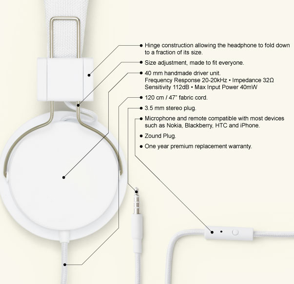 Urbanears Plattan Headphones Specifications
