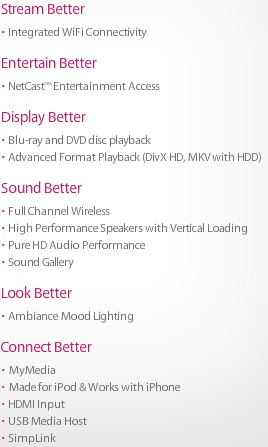 LG HB994PK Features
