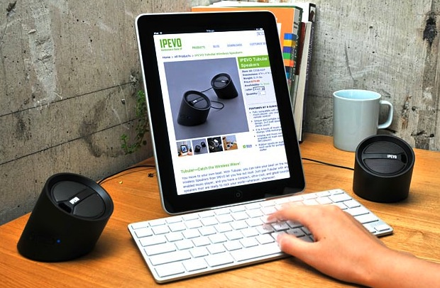 IPEVO Tubular Wireless Speakers with iPad