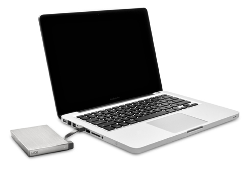 LaCie Rikiki Go Portable Hard Drive with Laptop