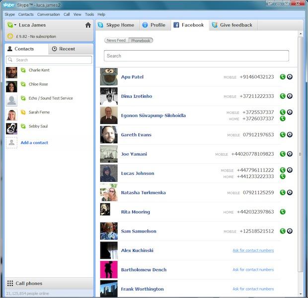 Skype 5.0 for Windows Facebook Phone Integration