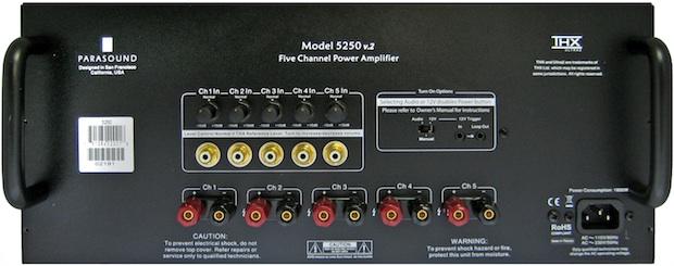 Parasound NewClassic 5250 v.2 Five Channel THX Ultra2 Power Amplifier - Rear