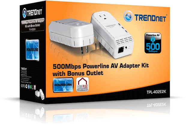 TRENDnet TPL-402E2K 500Mbps Powerline AV Adapter Kit with Bonus Outlet - Box
