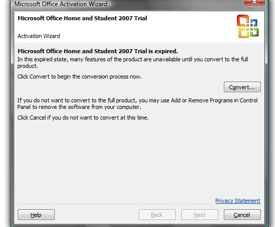 microsoft office home and student 2007 trial activation key