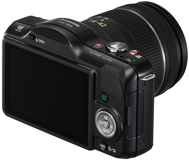 Panasonic DMC-GF3 Lumix Micro Four Thirds Digital Camera - Back Angle