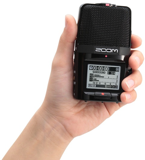 Zoom H2n Handy Recorder in hand