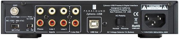 Parasound Zphono-USB Preamplifier - back