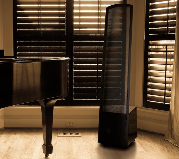 MartinLogan Montis Floor Standing Electrostatic Speaker in room