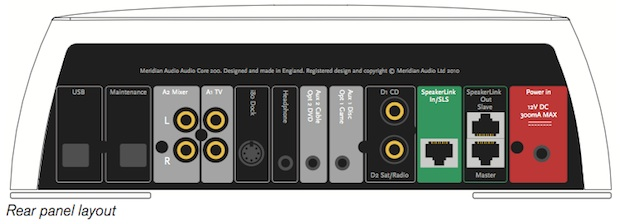 Meridian Audio Core 200 Stereo Audio Controller - back