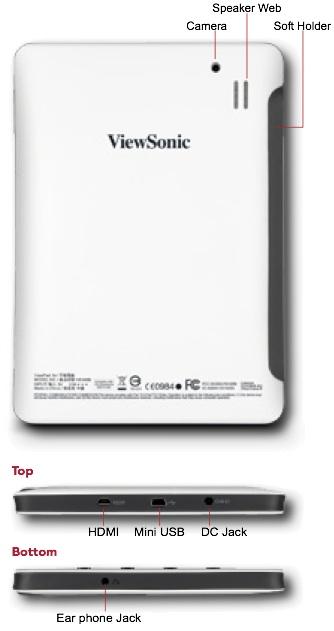 ViewSonic ViewPad 7e Tablet - Back