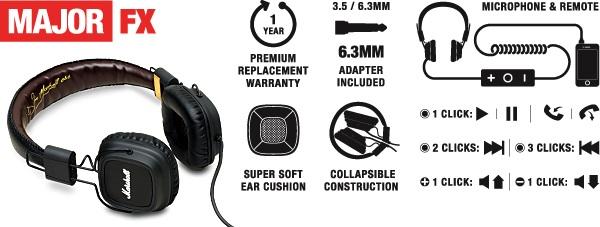 Marshall Major FX Headphones Diagram