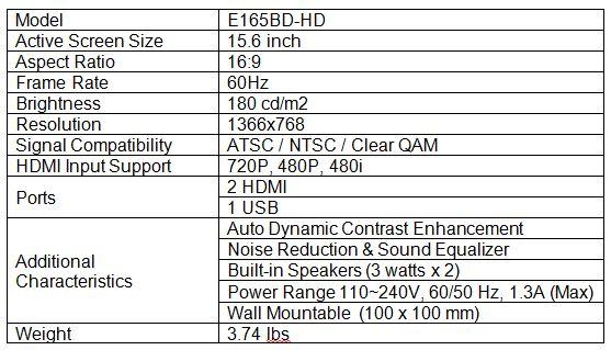 Sceptre E165BD-HD LCD HDTV Comparison
