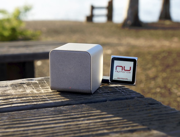 NuForce Cube Portable Speaker with iPod nano connected