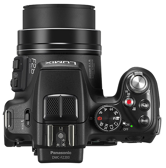 Panasonic DMC-FZ200 Lumix Super-Zoom Digital Camera - Top