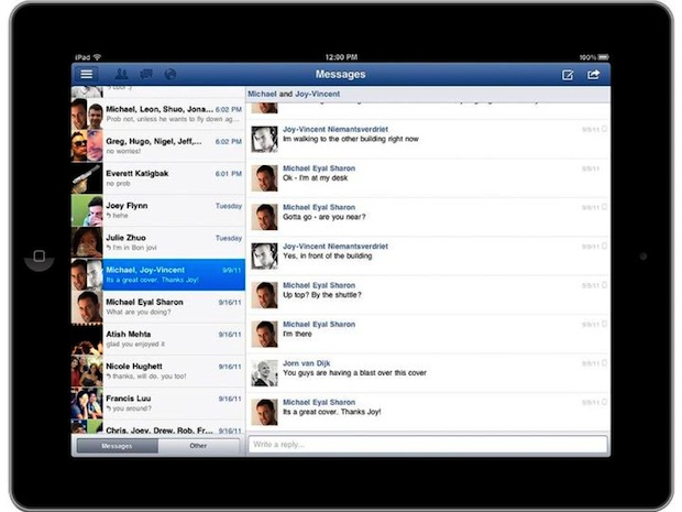 Facebook iPad App - messages