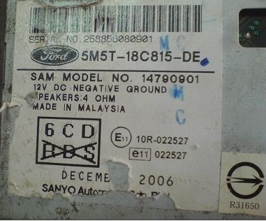 ford focus sony radio serial number