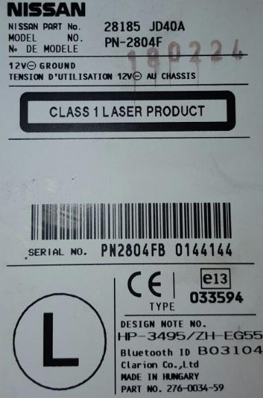 nissan micra k12 radio serial number