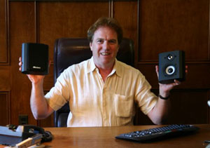 Ian Colquhoun with Axiom M0 speakers