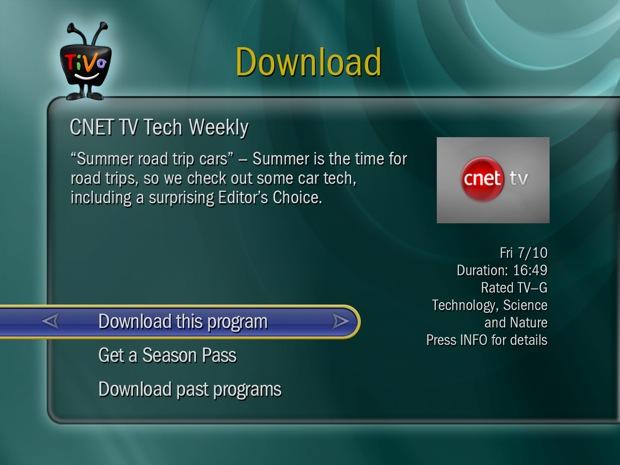 TiVo - Download CNETTV