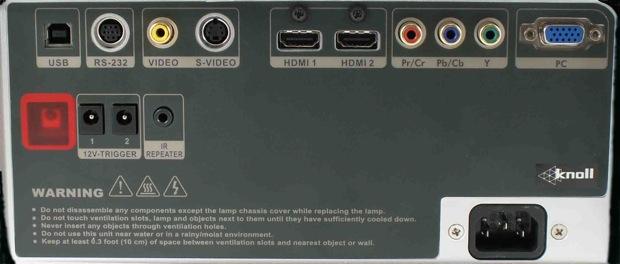 Knoll HDP1100 and HDP1200 Projectors Rear Panel