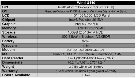 MSI U110 ECO Netbook Specifications