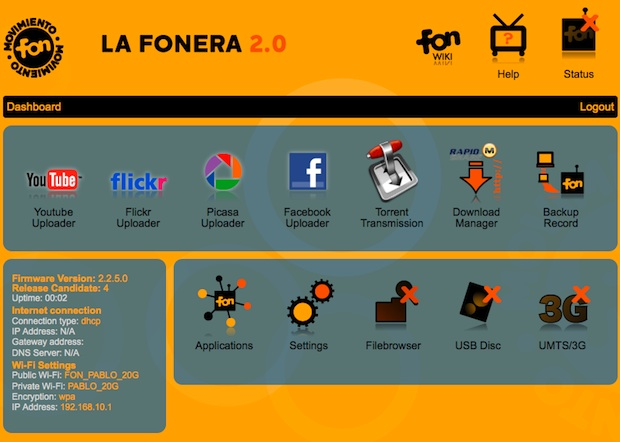 Fonera 2.0n Wi-Fi Router Web Interface