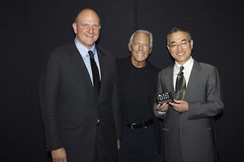 Steve Ballmer, Giorgio Armani and Won Pyo Hong