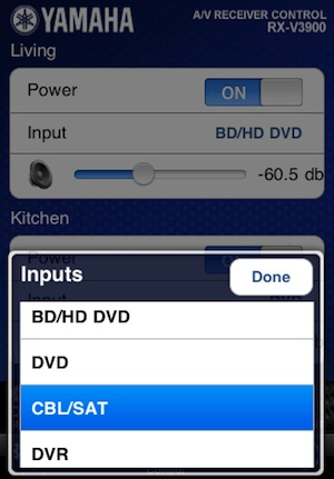 Yamaha Network AV Receiver Input Control App for iPhone