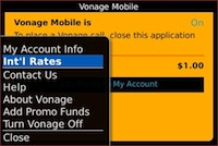 Vonage World Mobile for BlackBerry
